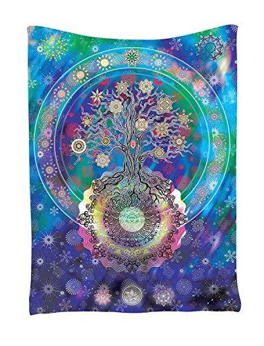 Goldbeing Tapisserie Baum des Lebens Wandteppich Wandbehang Indisch Hippie Wandtuch als Dekotuch/Tagesdecke Psychedelic