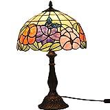 FABAKIRA Lampada Stile Tiffany 12 Pollici Vintage Pastorali Fiore di Vetro Macchiato Lampada da Tavolo da Letto Comodino