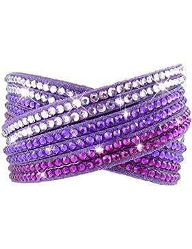 Armband Wrap Kaskade Slake Strasssteine Brillant Kristall Kaskade Leder Wildleder lila