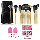 #4: Bundle Offer : 24 Pcs Makeup Brush Set With Case + 2 Pcs Makeup Puff Beauty Blender + 1 Pc Brush Egg - The Novelty Makeup Brush Cleaner. Functions of each brush engraved on the brush itself.
