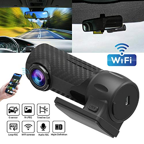 GreatFun Dash Cam - 1080P HD Hidden Car Camera DVR Dash Cam Recorder with WiFi G-Sensor Parking Mode for Cars Front and Rear View