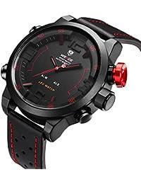 Montre,Montres Hommes,Montre-bracelet de quartz japonais analogique numérique de bande en cuir véritable de luxe LED,Deux fuseaux horaires affichent Multifunction Sport Fashion Watches pour les homm