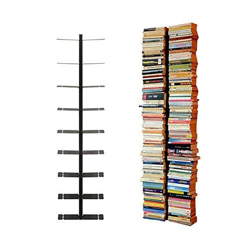 Radius - booksbaum Double/Bücherregal - Wand Gross Schwarz, 2tlg. Best.aus: Halterung + Einlegeböden (Bücherregal Maße)