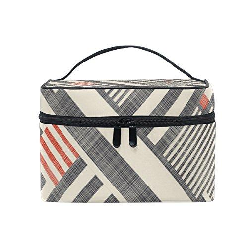 ALAZA Sac cosmétiques Vintage Oblique Stripes Maquillage Voyage cas de stockage organisateur