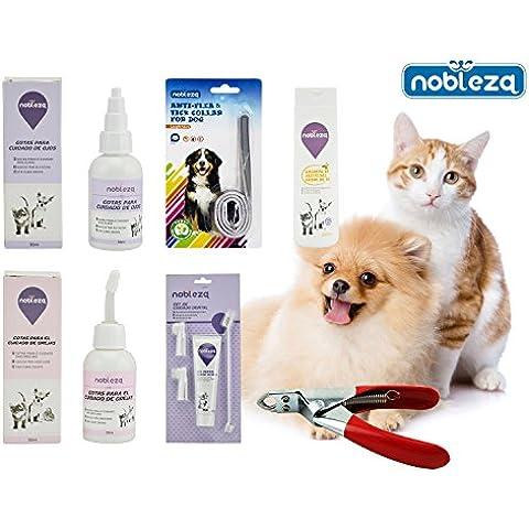 Nobleza - Pack perro sano y limpio. Contenido: Gotas para limpiar ojos y orejas, champú, collar antiparasitario, cortauñas y kit de cepillo de