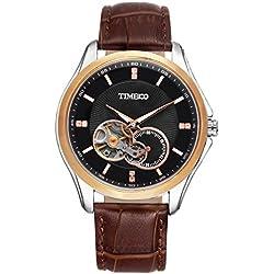 Time100 Men's Fashion Multifunction Black Gold Automatic Self-winding Mechanical Steel Luminous Watch #W60017G.04A