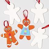 Baker Ross Keramik Anhänger Lebkuchenmännchen für Kinder zum Bemalen und als Baumschmuck (5 Stück)