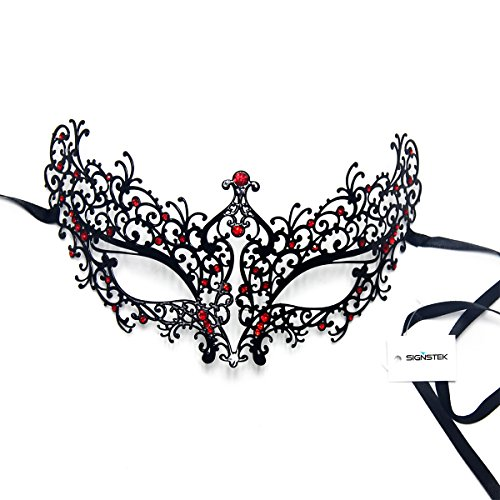 Signstek Laser-Cut Metal Schwarz venezianischen Maskerade-Maske für Frauen mit Kristallen Halbaugenmaske (schwarz mit rotstraß) (Maskerade-masken Für Frauen Schwarze)