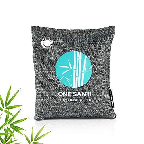 ONE SANTI Geruchsneutralisierer und Raumentfeuchter mit Bambus Aktivkohle - Umweltfreundlicher Luftentfeuchter Auto | Lufterfrischer Auto (1x 200g (einzeln))