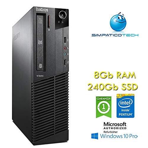 PC Lenovo Thinkcentre M82 Intel Pentium G640 SFF RAM 8Gb SSD 240Gb Windows 10 Professional con Licenza nuova Simpaticotech (Ricondizionato) (8Gb RAM 240Gb SSD solid state)