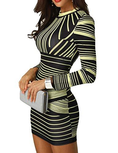CHICME BEST SHOPPING DEALS Damen Gradient Farben Streifen Bodycon Mini Kleid Gelb XL