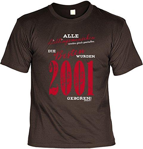 T-Shirt zum 16. Geburtstag Lieblingsmensch seit 2001 Geschenk zum 16 Geburtstag Geschenkidee 16. Geburtstag 16 Jahre Geburtstagsgeschenk Braun