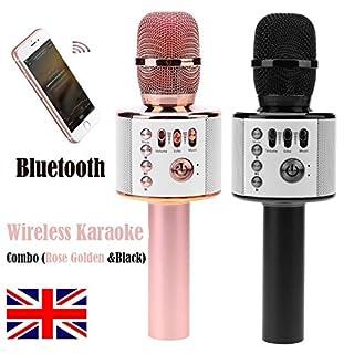 2Pcs Wireless Bluetooth Karaoke Microphone Speakers for phone Rose Golden & Black Handheld Mic USB Stereo Player