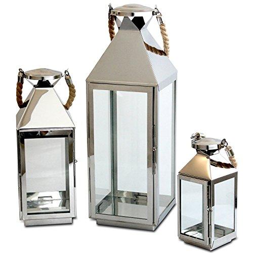 s 3tlg. Laternen-Set H55,5/40/25cm Edelstahl mit Griff aus geflochtenem Seil und Glasfenstern Laterne Windlicht Gartenlaterne Kerzenhalter Gartenbeleuchtung Dekoration ()