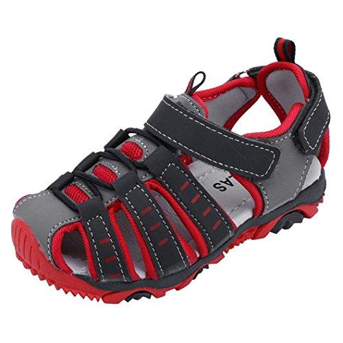 Schuhe Jordan Größe 5 (SOMESUN Babys Jungen Fashion Sandalen Kinder Jugendliche Mode Freizeit Kunstleder Sommer Strand Weich Atmungsaktiv Anti-Rutsch Elastisch Laufen Sport Schuhe Turnschuhe (EU21, Rot #3))