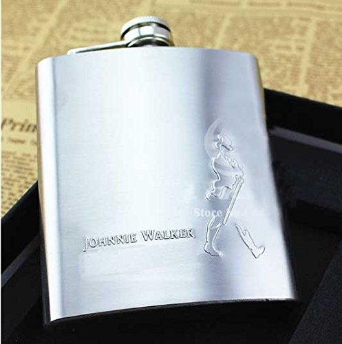 And Retails Johnnie Walker Design Embossed 8Oz (230 Ml) Stainless Steel Hip Flask - Alcoholic Beverage Holder