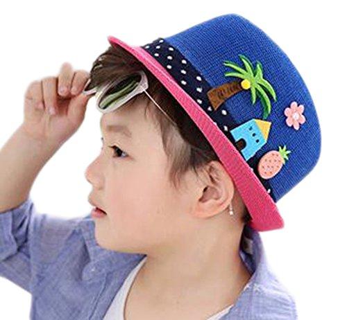 r Sommer Sonnenschutz Hut Jungen Sonnenhut Strohhut Strand Hut Mädchen,Dunkelblau ()
