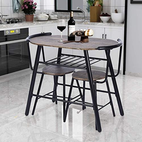 Green Forest Esstisch Set 3-teilig rustikaler Frühstückstisch Bistro Pub Tisch mit 2 Stühlen für Küche und Restaurant, Walnuss -