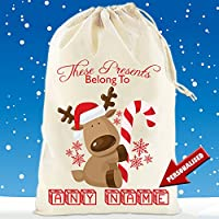 Boultons Graphics Personalised Santa Sack Stocking Babies First Christmas From Santa 4 Designs (S - 30cm x 25cm, Presents Belong to Red)