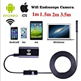 Hanbaili USB Endoscopio, 2m 8mm Wireless WIFI Endoscopio Impermeabile HD 1.0MP Camera per iPhone iOS Android
