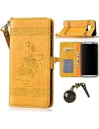 PU Galaxy S8 plus / S8+ Bookstyle Étui fleurs Fleur Housse en Cuir Case à rabat pour Samsung S8 plus / S8+ (Ecran : 6.2 pouces ) Coque de protection Portefeuille TPU Case (+Bouchons de poussière) (10)