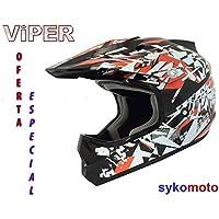 VIPER X13 NIÑOS Y NIÑAS MOTOCROSS QUAD ATV OFF ROAD MOTOCICLETA CASCO ROJO OFERTA ESPECIAL (S (47-48 CM), BLACK GOGGLES)