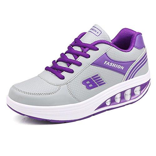 Exing Damenschuhe Laufschuhe Schnürschuhe Sport und Freizeit Schuhe Verschleißfeste Rutschfeste Atmungsaktive Komfort Freizeitschuhe Studenten Tanzschuhe (Color : D, Größe : 35)