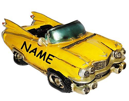 """Preisvergleich Produktbild Spardose - """" altes Cabrio Auto / Oldtimer - GELB """" - incl. Name - stabile Sparbüchse aus Kunstharz / Polyresin - Fahrzeug Sparschwein lustig witzig Kuba / Auto - New York NYC yellow Cab - Autos / Reise - Führerschein / Führerscheinprüfung - 50er Jahre / Retro - Amerika - amerikanischer Rennwagen - Reisekasse Urlaub Reisen - Nostalgie"""