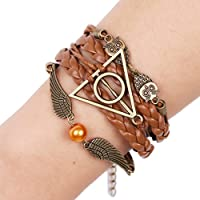 Retro Handmade Multilayer Leather Bracelets Bangles Infinity Birds Harry Potter Bracelet Cuff Women