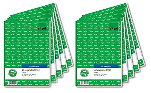 Sigel LI528/10 Lieferscheine A5, 2x50 Blatt, 10er Pack