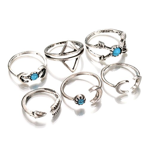 BODYA Vintage Mode Frauen Silber Pfeil Mond Türkis Joint Knuckle Nagel Midi Ring Fingerring Set von 6 Ringen