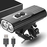 MUTANG Fahrrad Licht, verbesserte USB wiederaufladbare wasserdichte Fahrrad Licht 1800 Lumen Doppelte Docht Hervorhebung LED Scheinwerfer Fahrrad Licht Licht Taschenlampe