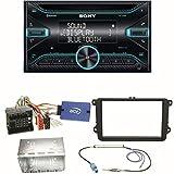 Sony WX-920BT Bluetooth CD USB AUX Autoradio Einbauset für Golf 5 6 Passat 3C B7 Touran