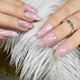 Veena Stiletto Marble Nail Tips Light Pink Press On Artificial Fake Nails Full Cover Plastic Ladies Finger Decoration Z799