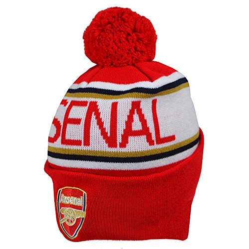 FC Arsenal London gestrickte Bommelmütze Rot mit rotem Bommel - Arsenal-fußball-hut Fc
