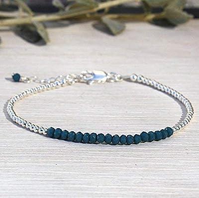 bracelet pierres quartz bleu vert foncé et perles argent massif 925