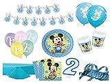 XXL Party Deko Set 2.Geburtstag Mickey Baby Kindergeburtstag für 16 Personen 66 teilig blau Junge