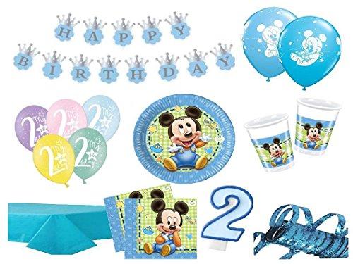 XXL Party Deko Set 2.Geburtstag Mickey Baby Kindergeburtstag für 16 Personen 66 teilig blau Junge (Mickey Geburtstag Zahl)