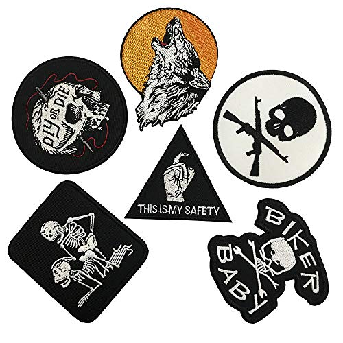 This is My Safety Iron On Skull Death Patch Embroidered Skeleton Applique Sewing Label Punk Biker Patches Clothes Stickers Apparel Accessories Badge (6 pcs)