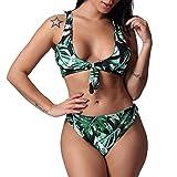 QUINTRA Bademode Bikini Damen Blätter Print Bandage Bikini Set Sling Bogen Bademode Beachwear Swim