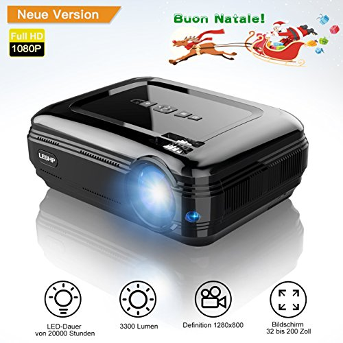 LCD Beamer, LESHP LED Video Projector Mini Portable Projector 3200 Lumens 1080P Multimedia Home Theater Video Projector Support Smartphone/Blu-ray/DVD Player/ Laptops/Tablets,Black -