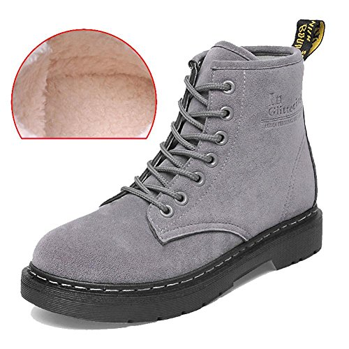 women ankle short martin boots leather suede long plush flat heel winter warm casual shoelace snow cotton retro shoes . gray . 38