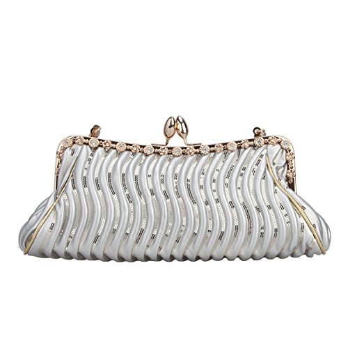 Bonjanvye Crystal Sequins Kiss Lock Handbag Small Purse with Shoulder Strap Silver (Kiss Lock Handbag)