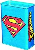 Unbekannt Klang und Kleid 6820474091 Spardose mit Superman Motiv Sparbüchsen, Metall, Blau, 9 x 4.5 x 11.5 cm