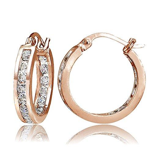 1d9941fbcdda Hoops   Loops Mujer Plata fina 925 plata chapada de oro de 18 quilates  Cubic Zirconia