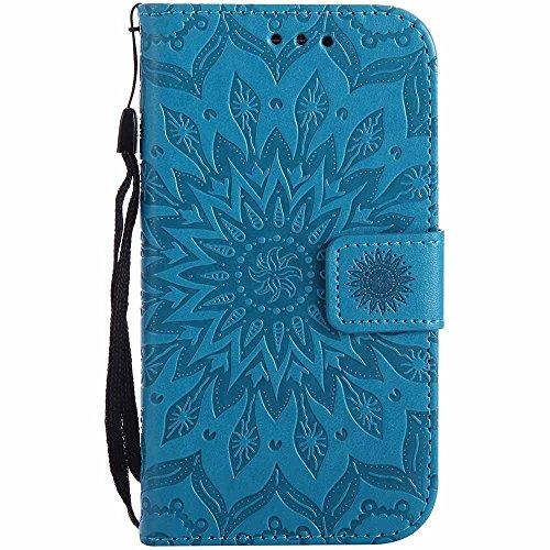 Galaxy S3 Hülle, Galaxy S3 Neo Hülle, Dfly Premium Slim PU Leder Mandala Blume prägung Muster Flip Hülle Bookstyle Stand Slot Schutzhülle Tasche Wallet Case für Samsung Galaxy S3 / S3 Neo, Blau