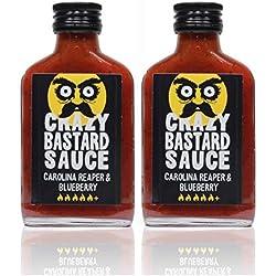 Crazy Bastard® Sauce - Carolina Reaper & Blaubeere - Süsse Heildelbeeren mit der Schärfsten Chilis der Welt, Extreme Scharfe. voll leckere geschmack - 2er Pack (2 x 100ml flasche)