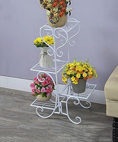Style européen Fleur Stand / Iron Multilayer Indoor Living Room Manimalist Pastoral Flower Shelf / Plant Shelf Etagère de Fleur ( Couleur : Blanc , taille : 40*23*76cm )