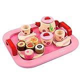 Luerme Kinder Tee Set, 19 Stück Kuchen & Tee Set, Holz Teeservice Spielzeug für Kinder Mädchen Geschenk