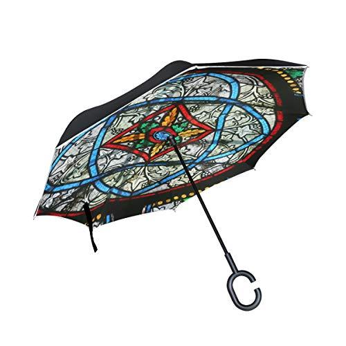 ern Glass Floral Doppelschicht Folding Anti Uv Schutz Winddicht Regen Gerade Autos Golf Reverse Inverted Umbrella Stand Mit C förmigen Griff ()